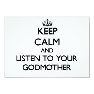 Guarde la calma y escuche su madrina invitación 12,7 x 17,8 cm