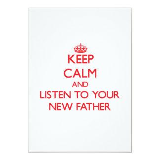 Guarde la calma y escuche su nuevo padre anuncios