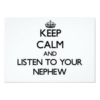 Guarde la calma y escuche su sobrino invitación 12,7 x 17,8 cm