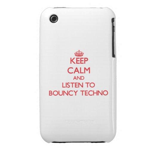 Guarde la calma y escuche TECHNO ANIMOSO iPhone 3 Funda