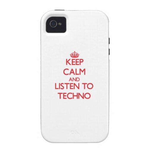Guarde la calma y escuche TECHNO iPhone 4 Fundas