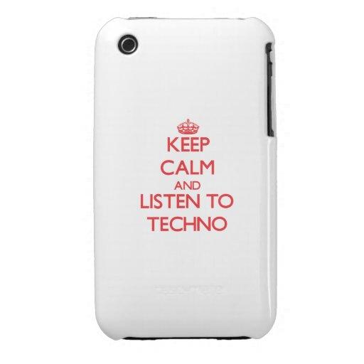 Guarde la calma y escuche TECHNO iPhone 3 Case-Mate Cárcasas