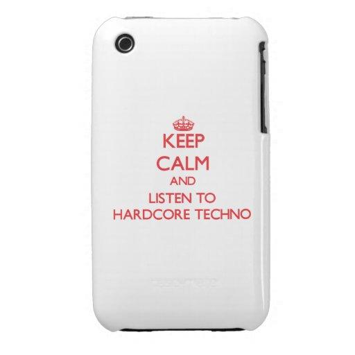 Guarde la calma y escuche TECHNO INCONDICIONAL iPhone 3 Case-Mate Cárcasa