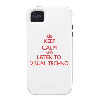 Guarde la calma y escuche TECHNO VISUAL Case-Mate iPhone 4 Funda