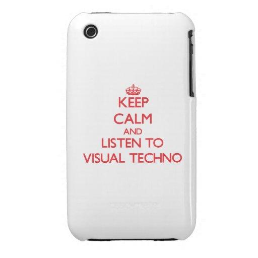 Guarde la calma y escuche TECHNO VISUAL Case-Mate iPhone 3 Cobertura