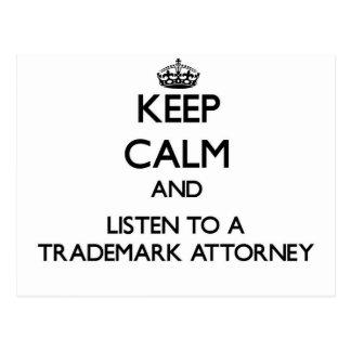 Guarde la calma y escuche un abogado de la marca r tarjetas postales