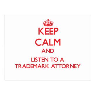 Guarde la calma y escuche un abogado de la marca r postales