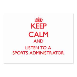 Guarde la calma y escuche un administrador de los  tarjeta de visita