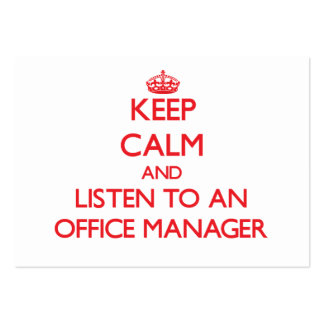Guarde la calma y escuche un administrador de ofic tarjetas de visita grandes