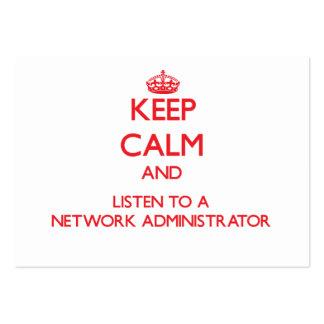 Guarde la calma y escuche un administrador de red tarjetas personales