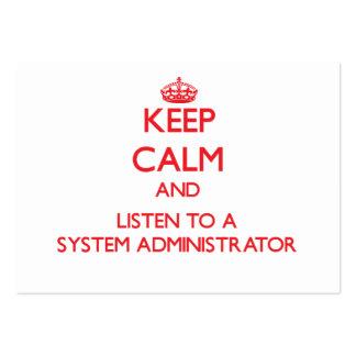 Guarde la calma y escuche un administrador de sist plantillas de tarjetas de visita