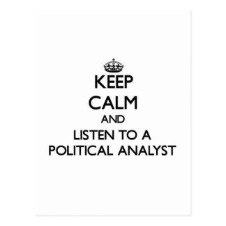 Guarde la calma y escuche un analista político postal