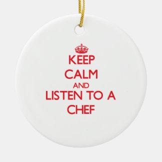 Guarde la calma y escuche un cocinero adornos de navidad