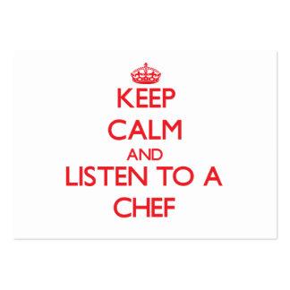 Guarde la calma y escuche un cocinero tarjetas de visita grandes