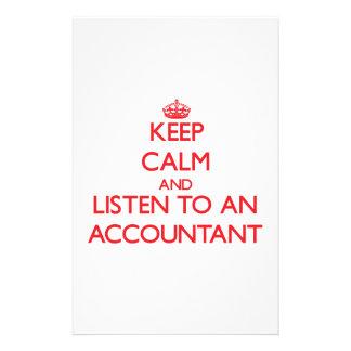 Guarde la calma y escuche un contable papelería