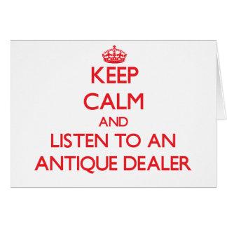 Guarde la calma y escuche un distribuidor autoriza tarjeta de felicitación