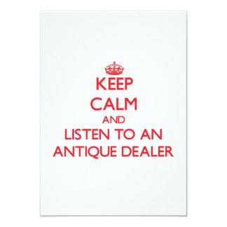 Guarde la calma y escuche un distribuidor invitación 12,7 x 17,8 cm