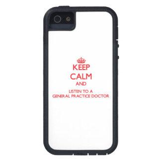 Guarde la calma y escuche un doctor de la práctica iPhone 5 funda