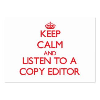 Guarde la calma y escuche un editor tarjetas de visita grandes