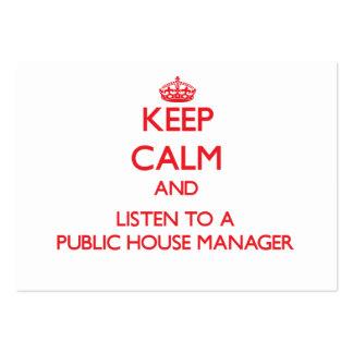 Guarde la calma y escuche un encargado del bar plantilla de tarjeta personal