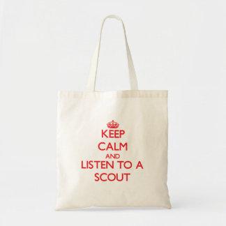 Guarde la calma y escuche un explorador bolsa