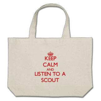 Guarde la calma y escuche un explorador bolsa de mano