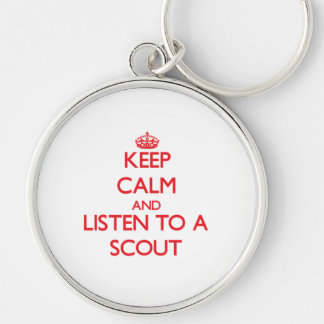Guarde la calma y escuche un explorador llaveros personalizados