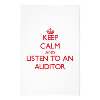 Guarde la calma y escuche un interventor papelería personalizada