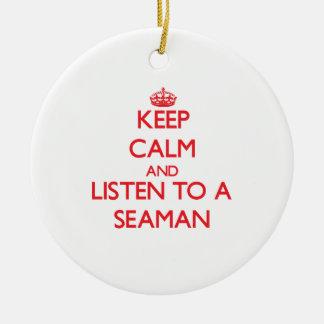 Guarde la calma y escuche un marinero adorno de navidad