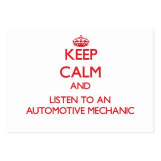 Guarde la calma y escuche un mecánico automotriz tarjeta de visita