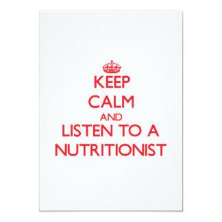 Guarde la calma y escuche un nutricionista comunicado personalizado