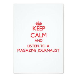 Guarde la calma y escuche un periodista de la comunicados personalizados