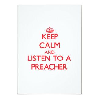 Guarde la calma y escuche un predicador invitación 12,7 x 17,8 cm