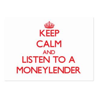 Guarde la calma y escuche un prestamista tarjetas personales