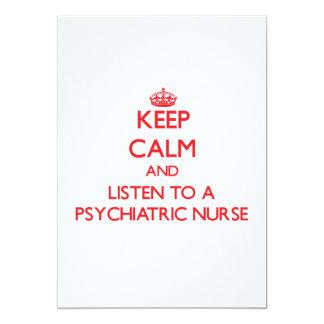 Guarde la calma y escuche una enfermera invitaciones personales