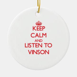 Guarde la calma y escuche Vinson Adorno Navideño Redondo De Cerámica