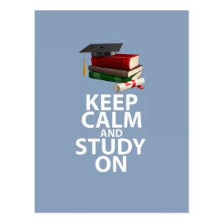 Guarde la calma y estudie en la impresión de motiv postales