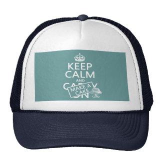 Guarde la calma y haga una torta los colores del gorras