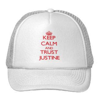 Guarde la calma y la CONFIANZA Justine Gorro De Camionero