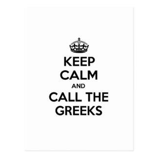 Guarde la calma y llame a los Griegos Postal
