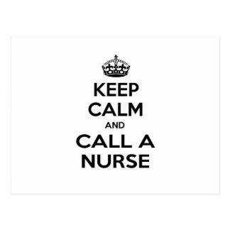 Guarde la calma y llame a una enfermera tarjeta postal