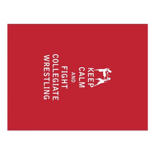 Guarde la calma y luche la lucha colegial tarjetas postales