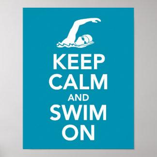 Guarde la calma y nade en la impresión