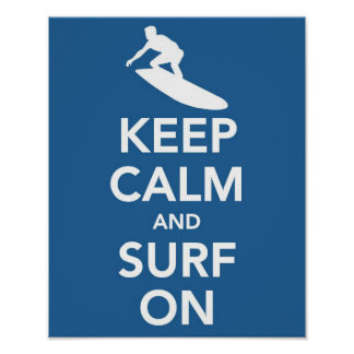 Guarde la calma y practique surf en la impresión