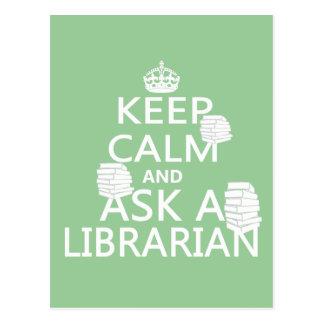 Guarde la calma y pregunte a bibliotecario postal
