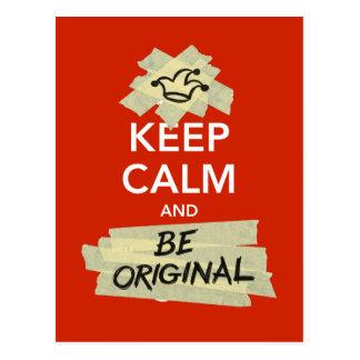 Guarde la calma y sea original postal