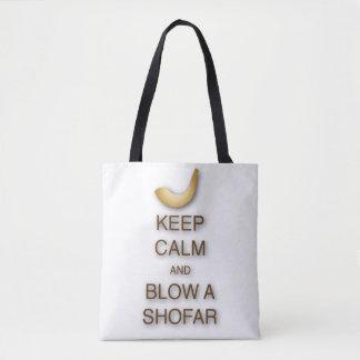 Guarde la calma y sople un shofar por todo el bolso de tela
