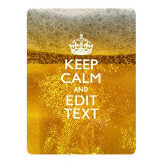 Guarde la calma y su texto para un poco de cerveza invitación 16,5 x 22,2 cm