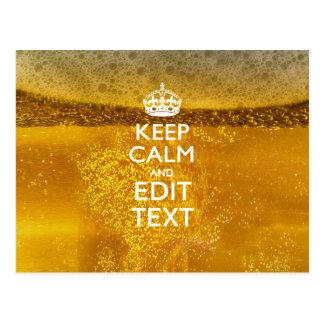 Guarde la calma y su texto para un poco de cerveza postal
