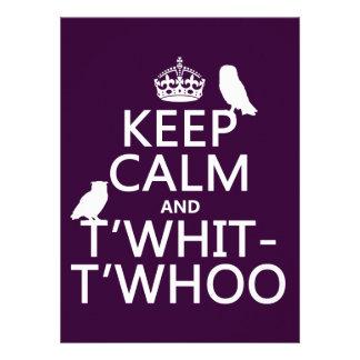 Guarde la calma y T Whit-T Whoo búhos cualquier Invitación Personalizada